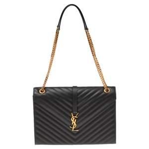 Saint Laurent Dark Grey Matelassé Leather Monogram Envelope Shoulder Bag