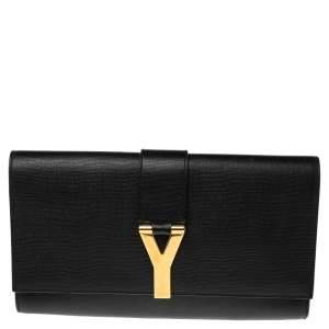 Saint Laurent Black Textured Leather Y-Ligne Clutch