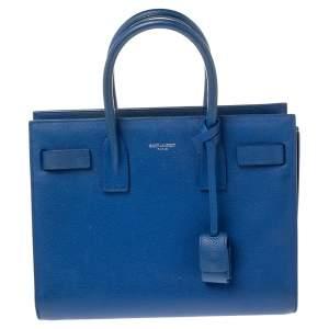 Saint Laurent Blue Grained Leather Baby Classic Sac De Jour Tote