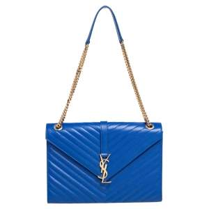 Saint Laurent Blue Quilted Leather Monogram Envelope Shoulder Bag
