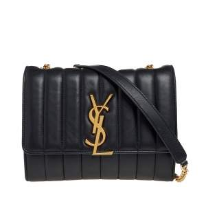 Saint Laurent Black Quilted Leather Vicky Wallet On Chain