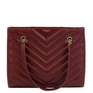 Saint Laurent Red Leather Tribeca Shopping Bag