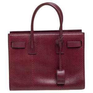 Saint Laurent Dark Red Snakeskin and Leather Baby Classic Sac De Jour Tote