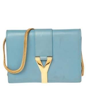 Saint Laurent Blue Leather Mini Y-Ligne Crossbody Bag