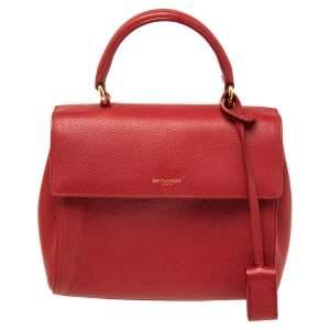 Saint Laurent Red Leather Small Moujik Top Handle Bag
