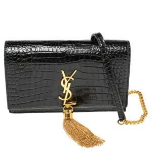 Saint Laurent Black Croc Embossed Leather Kate Wallet On Chain