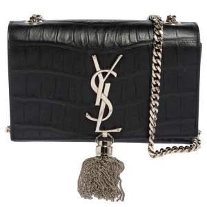 Saint Laurent Black Croc Embossed Leather Kate Shoulder Bag