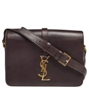 Saint Laurent Dark Burgundy Leather Medium Monogram Université Flap Bag