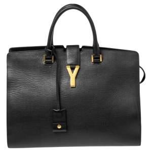 Saint Laurent Black Leather Large Y Cabas Chyc Tote