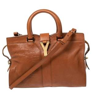 Saint Laurent Brown Leather Small Cabas Chyc Tote