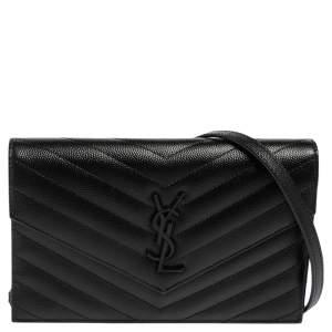 Saint Laurent Black Matelassé Leather Monogram Envelope Wallet on Chain