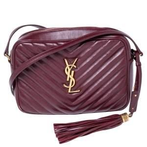 Saint Laurent Burgundy Matelassé Leather Monogram Lou Camera Crossbody Bag