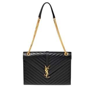 Saint Laurent Black Matelassé Leather Monogram Envelope Shoulder Bag