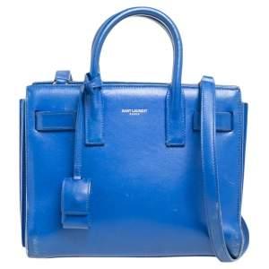 Saint Laurent Blue Leather Nano Classic Sac De Jour Tote