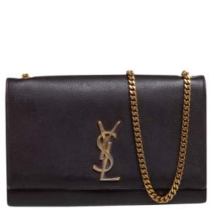 Saint Laurent Burgundy Leather Medium Kate Shoulder Bag