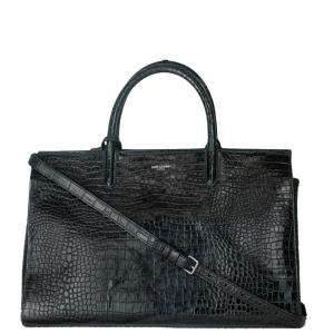 Saint Laurent Paris Black Embossed Leather Rive Gauche Cabas Bag