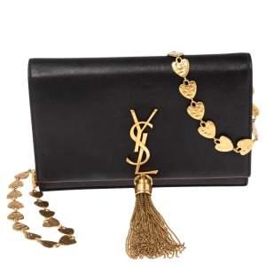 Saint Laurent Black Leather Small Kate Heart Chain Bag