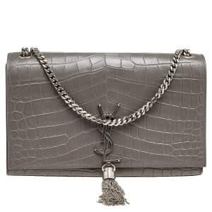 Saint Laurent Grey Croc Embossed Leather Medium Kate Monogram Tassel Shoulder Bag