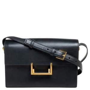 Saint Laurent Black Leather Medium Lulu Shoulder Bag