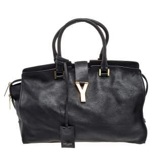 Saint Laurent Black Leather Medium Cabas Chyc Satchel