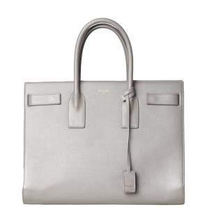 Saint Laurent Paris Grey Leather Large Sac De Jour Bag