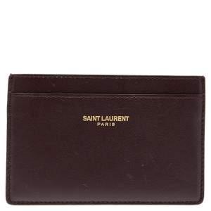 Saint Laurent Burgundy Leather Classic Card Holder