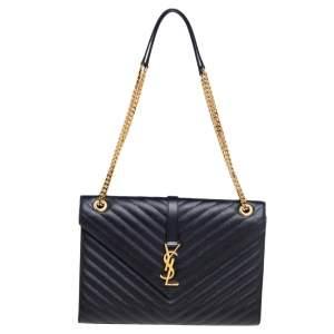 Saint Laurent Black Quilted Leather Monogram Envelope Shoulder Bag