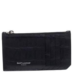 Saint Laurent Black Croc Embossed Leather Zip Card Holder