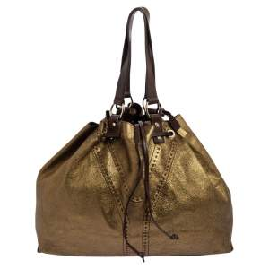 حقيبة يد توتس سان لوران دوبل ساك واي  جلد ذهبي بوجهين كبيرة
