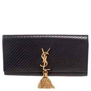 Saint Laurent Black Quilted Leather Kate Tassel Clutch