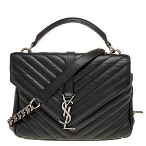 حقيبة سان لوران كوليدج جلد ماتيلاس أسود متوسطة  بيد علوية