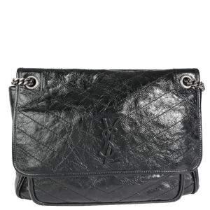 Saint Laurent Black Leather Monogram Niki Bag