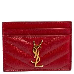 Saint Laurent Red Matelassé Leather Monogram Card Holder