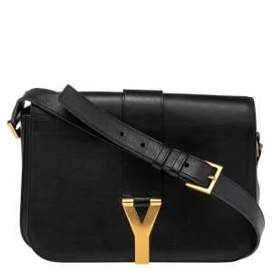 Saint Laurent Black Leather Ligne Y Crossbody Bag