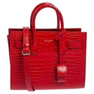 Saint Laurent Red Croc Embossed Leather Nano Classic Sac De Jour Tote