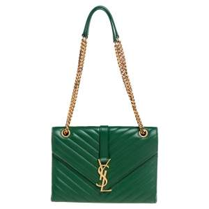 حقيبة كتف سان لوران كاساندريه جلد شيفرون أخضر متوسطة بقلاب