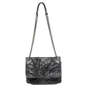 Saint Laurent Black Leather Baby Niki Flap Shoulder Bag