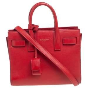حقيبة يد سان لوران نانو كلاسيك ساك دو جور جلد أحمر