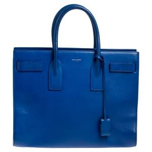 Saint Laurent Blue Leather Large Classic Sac De Jour Tote