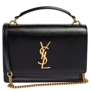 حقيبة كتف سان لوران صنسيت جلد أسود ذات سلسلة صغيرة
