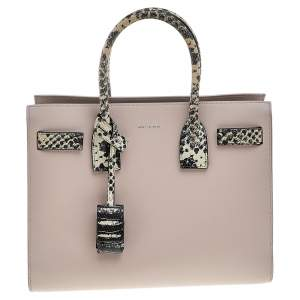 Saint Laurent Pale Pink Leather And Python Embossed Leather Small Sac De Jour Tote