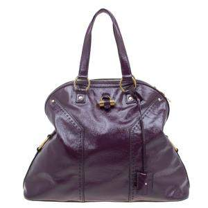 Yves Saint Laurent Purple Patent Leather Oversized Muse Tote