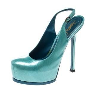 Saint Laurent Paris Light Blue Textured Patent Leather Tribtoo Platform Slingback Sandals Size 38.5