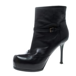 Saint Laurent Paris Black Leather Platform Ankle Boots Size 40.5