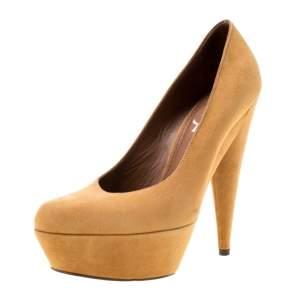 حذاء كعب عالي سان لوران باريس نعل سميك الياما سويدي جملي بيج مقاس 37.5