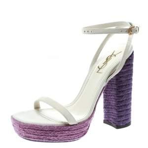 Saint Laurent Paris Off White Suede Gipsy Ankle Strap Platform Sandals Size 37