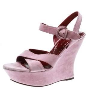 Saint Laurent Paris Light Pink Suede Cross Strap Platform Wedge Sandals Size 39