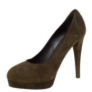 حذاء كعب عالي سان لوران باريس نعل سميك سويدي أخضر داكن مقاس 36