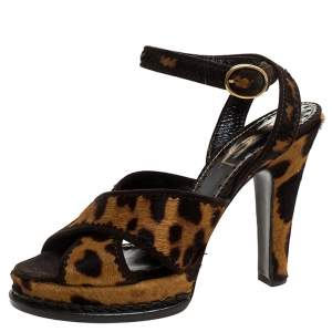 Saint Laurent Paris Leopard Print Calf Hair Platform Sandals Size 39
