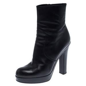 حذاء بوت كاحل سان لوران باريس سحاب نعل سميك أسود مقاس 38